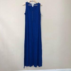 OSO Casuals Blue Sleeveless Maxi Dress Size L